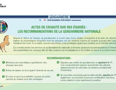 Message de la gendarmerie